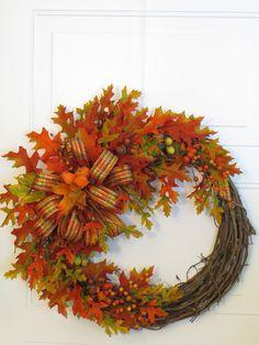 Fall Wreath, Front Door Wreath, Autumn Leaves Wreath, Fall Decor, Thanksgiving…