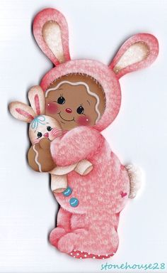 HP GINGERBREAD Pink Bunny (Easter) FRIDGE MAGNET #Handpainted