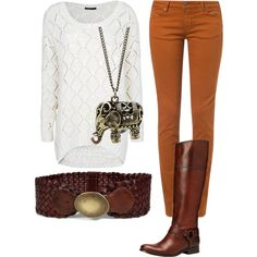 Love the fall colored skinny jeans with the white sweater