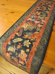 Handmade Table Runner Quilted Fall Leaves