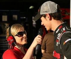 Amanda as a pit reporter following her stint as Miss Sprint Cup.  Here she is interviewing Joey Logano.