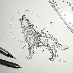 Imagem de wolf, art, and drawing