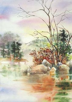 Karlyn holman's paintings gallery watercolor scenery, watercolor landscape paintings, pastel landscape, watercolor tips Watercolor Scenery, Watercolor Landscape Paintings, Watercolor Tips, Watercolour Tutorials, Watercolour Painting, Watercolors, Art Aquarelle, Pastel Landscape, Painting Gallery
