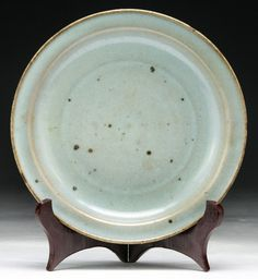 """Chinese Antique JUNYAO Porcelain Plate: blue glazed, of Ming Dynasty; Size: D: 7-1/2"""""""