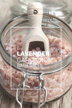 DIY Lavender Cardamom bath salts. Try this delicious combination in your next bath or make a bunch and give it as a gift. Or, better yet, do both!