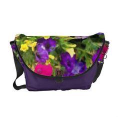 'SUMMER JEWELS' RICKSHAW MESSENGER BAG, by The Flying Pig Gallery on Zazzle (lizadeyphoto) - Brilliant jewel-toned summer flowers decorate this vibrant messenger bag.
