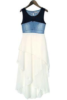 White Contrast Denim Sleeveless Cascading Ruffle Chiffon Dress
