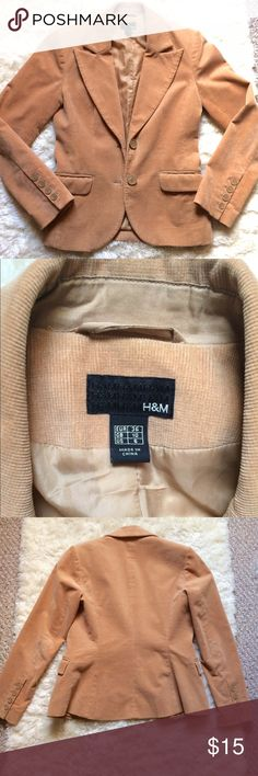 """Womens tan corduroy casual blazer H&M tan corduroy blazer. Womens size 6. 2 front buttons. 2 flap pockets; they are real pockets. Fully nylon lined. Fading starting to appear at elbows. Decorative buttons on sleeves. No stains. @16.5"""" armpit to armpit. 23"""" from shoulders. Fitted style. H&M Jackets & Coats Blazers"""