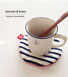 Nautical anchor red navy white coaster& spoon set home decor kitchen handmade zakka. $14.00, via Etsy.