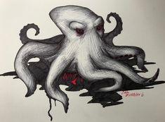 "R. Casthavian on Instagram: ""Day 6. An evil motherfucker! . #art #inktober #inktober2018 #drawtober #goretober #drawing #sketch #pencils #gore #halloween #octopus #blood"" Dark Art Drawings, My Character, Inktober, Octopus, Blood, Sketch, Halloween, Day, Instagram"