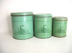 Vintage Shabby Chic Canisters. I like the color and think it would mix well with Sarahs wedding colors
