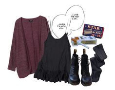 """""""violet harmon"""" by falloutboy4lyfe ❤ liked on Polyvore featuring PS from Aero, Monki and Dr. Martens"""
