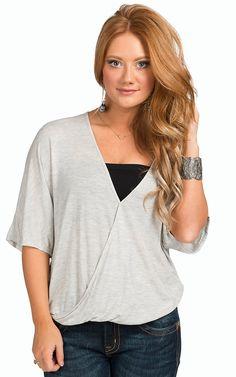 Karlie Women's Grey Wrap Front Drape Top