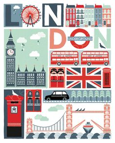 Sights of London _____________________________ Angleterre ~ England City Poster, Illustrations Poster, London Poster, London Calling, Vintage Travel Posters, Union Jack, London Travel, London City, London England