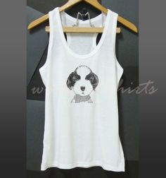 Shihtzu dog racerback tank top white color size S by WorkoutShirts