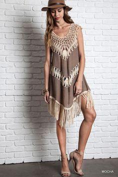 Crochet Fringe Tank Dress - Mocha