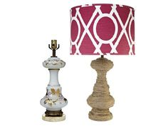 Transform any dowdy lamp by wrapping its base with rope and topping it with a contrasting modern shade.