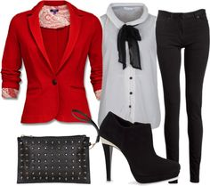 """""""Black White and Red"""" by nickirock on Polyvore"""