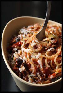 Pour une personne (multiplier par le nombre de personnes):  QS de spaghetti  Un filet d'huile d'olive  1 gousse d'ail (épluchée et râpée)  6 olives vertes (dénoyautées et détaillées en rondelles)  6 olives noires (dénoyautées et détaillées en rondelles)  1 cuillère à café de câpres (un peu hachés ou pas : moi je les préfère hachés)  2 filets d'anchois émiettés  2 lamelles de tomates séchées finement émincées  1 pointe de couteau de piment d'Espelette  1 verre de coulis de tomates (sans peau…