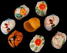 Hermit Crab Shells decorated with peel proof paint Crab Painting, Shell Painting, Hermit Crab Shells, Hermit Crabs, Snail Shell, Painted Shells, Animal Paintings, Inktober, Sea Shells