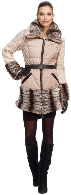 dfec4c19171 Tortora Après-Ski Jacket With Rex Rabbit Trim and Knit Sleeves Rex Rabbit