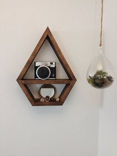 Wooden Wall Art, Wooden Diy, Diy Wooden Shelves, Crystal Room, Geometric Shelves, Wicca, Room Of One's Own, Home Building Design, House Plants Decor