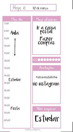 Freebie: Inserts diário para planner personal em 4 cores - Atraves da linha