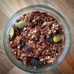 Organic cacoa quinoa granola with raw pumpkin seeds dates and raisins. #nutfree #cleaneating #foodie #bonappetit