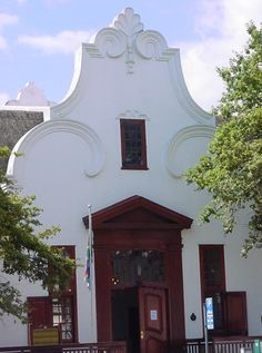 The Stellenbosch office of the Cape Winelands District Municipality at 46 Alexander Street is a modern building in the Cape Dutch Revival style. Architecture Antique, Beautiful Architecture, Architecture Design, Architectural Features, Architectural Elements, Holland, African House, Cape Dutch, Dutch House