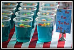 "Party snacks inspired by ""One Fish Two Fish Red Fish Blue Fish""!"