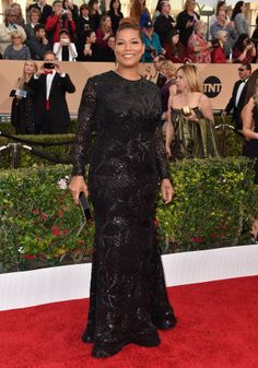 Queen Latifah in a Michael Costello dress and Fred Leighton jewelry.