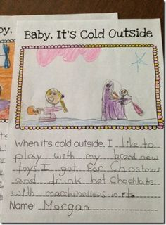 Students write about what they like to do when it's cold outside