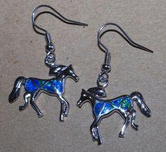 blue fire opal earrings Gemstone silver jewelry chic modern dangle/drop MC6W #DropDangle