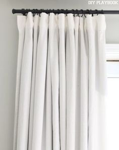 finally have some window treatments in our bedroom and they block out the sun. Here's how to DIY no-sew blackout curtains.We finally have some window treatments in our bedroom and they block out the sun. Here's how to DIY no-sew blackout curtains. Beige Curtains, No Sew Curtains, Drop Cloth Curtains, Cool Curtains, Curtains Living, Velvet Curtains, White Ikea Curtains, Double Curtains, Hanging Curtains