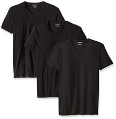 Emporio Armani Men's Cotton V-Neck T-Shirt, 3-Pack, New Black, Large #Watch