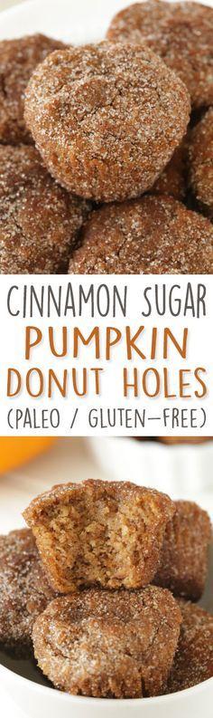 Cinnamon Sugar Pumpkin Donut Holes (paleo, grain-free, gluten-free, and dairy-free).
