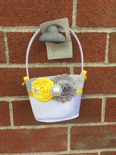 Grey and yellow Flower girl basket / rustic wedding basket / flower girl / weddings/ wedding basket