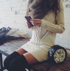 Cozy sweater dress and long socks Looks Style, Looks Cool, Style Me, Thigh High Socks, Thigh Highs, Knee Highs, Fall Winter Outfits, Autumn Winter Fashion, Spring Outfits