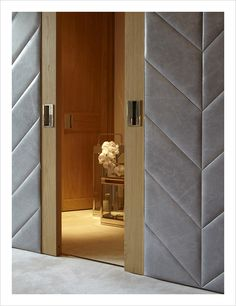 We could even do something like this leather herringbone for the master door. -mm