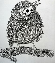 Zentangle bird using ben kwok template