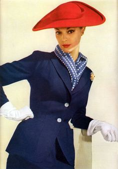 Jean Patchett Blue Suit and Red Hat