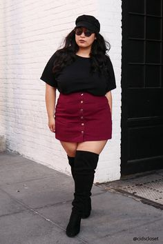 Plus size denim mini skirt mini skirt outfit winter, boho summer outfits, p Chubby Fashion, Fat Fashion, Curvy Girl Fashion, Look Fashion, Plus Size Fashion, Fashion Outfits, Fashion Check, Curvy Girl Outfits, Plus Size Outfits