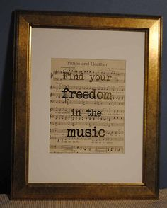 Find Your Freedom in the Music  Gold Foil Art by ColorMeUncommon