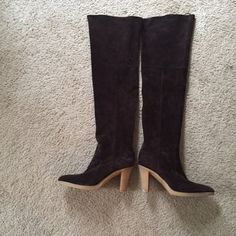 MICHAEL KORS dark brown knee high boots MICHAEL KORS BOOTS in like new condition only wore maybe 3 times beautiful boots in excellent condition! Heel 3inches comfortable!!!! Offers are being accepted! Michael Kors Shoes Over the Knee Boots