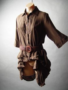 Steampunk Western Equestrian Pintuck Pleated Belted Bustle Tailcoat Top Shirt S