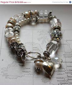 sterling silver bracelet heart bracelet chunky~<3