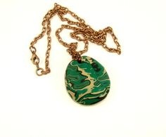 Handmade clay necklace - emerald green pendent by BobblesByCarol on esty $21.00