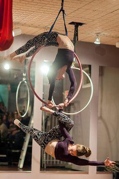 Aerial hoop duo at Awakenings Pole Fitness studio in Manayunk, PA. (LOVE THOSE LEGGINGS! :O )