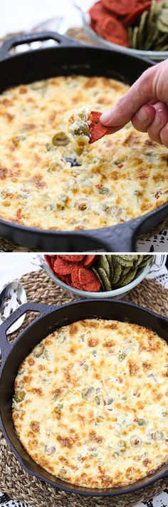 This recipe for Warm Cheesy Olive Dip is the perfect warm, gooey appetizer for chilly fall days! Serve this at all of your fall and holiday parties! (recipes for snacks finger foods) Appetizer Dips, Yummy Appetizers, Appetizers For Party, Appetizer Recipes, Parties Food, Brunch, Hummus, Dip Recipes, Cooking Recipes