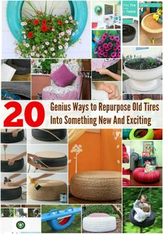 Diy Tire Crafts 20 Genius Ways To Repurpose Old Tires Into Something New And Exciting Tyres Recycle, Reuse Recycle, Recycled Tires, Diy Crafts Videos, Diy And Crafts, Car Crafts, Diy Projects To Try, Craft Projects, Tire Craft